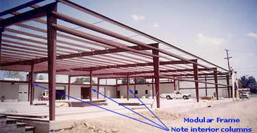modular frames with interior columns